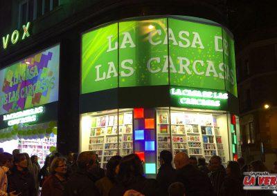 Rotulación temporal en Gran vía, Madrid.