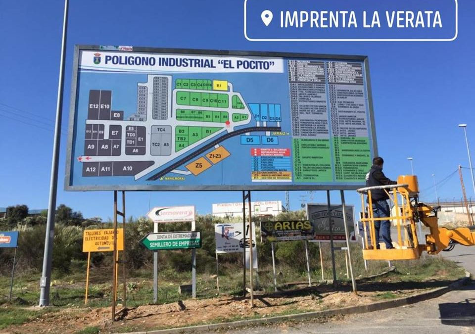 """Valla publicitaria del Polígono Industrial """"El Pocito"""" de Jaraíz de la Vera"""