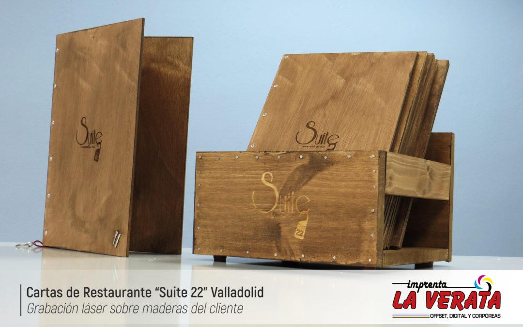 Cartas de madera para el restaurante Suite 22 Restaurant & Gin-Club de Valladolid