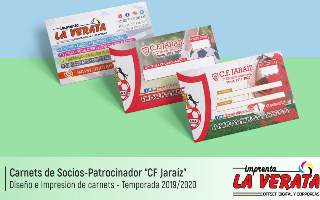 Diseño e Impresión del abono del SOCIO y PATROCINADORES del Club de Fútbol Jaraíz